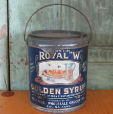 Antique ROYAL W GOLDEN SYRUP tin w original label 5lb bucket Great Graphics AAFA