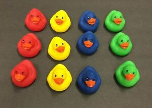 12  Floating Ducks Primary Colors Rubber Ducks Carnival Pond Birthday Party
