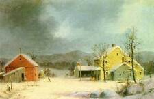 Winter Farm Scene yellow house by Durrie vintage art