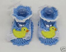 Baby Booties Hand Made Blue White Crochet New Born Gift Shoes  boys girls