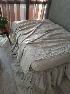 LINEN FLAT SHEET Queen King Twin Single Double Natural Organic Flax stonewashed