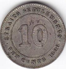 1900 Strait Settlements Silver 10 Cents Coin V G