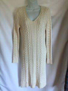 Ann Taylor Ivory Nylon Alpaca Wool V neck Cable Knit Sweater Dress M