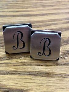 Vintage Swank Silvertone & Black Monogram B Cufflinks
