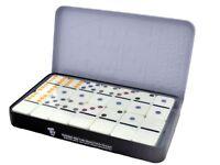 Double six Large dominoes color set in aluminium tin storage case