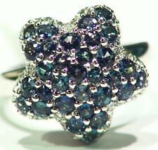 Vintage 2.18CT Platinum Natural Cut White Diamond Alexandrite Engagement Ring