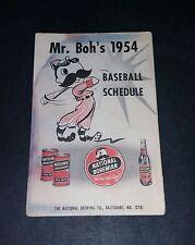 1954 Baltimore Orioles Natty Boh Pocket Schedule Tri-Fold Inaugural Year