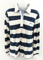 CREW CLOTHING Womens Long Sleeve Polo Shirt 12 Blue White Stripes Cotton