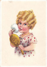 1940s Girl powders nose in the mirror old German postcard