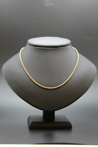 9ct Yellow Gold Rope Chain Necklace  16inch 6.32 grams Spring Clasp