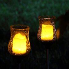 2 Solar Light Flickering Candle Garden Stake Glass Crackle Solar Light Yard