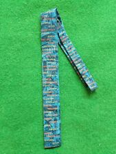 VTG MEN'S ROOSTER NECKTIE◾OLD WORLD CITIES/LANDMARKS PRINTED FABRIC◾SQUARE ENDS