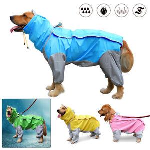 Waterproof Large Dog Pet Small/Medium Raincoat Jumpsuit Clothes Rain Coat Jacket