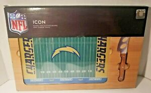 NFL Icon Chargers Glass Top Cutting Board & Cheese Knife Collectible Set NIB