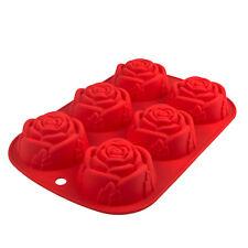 Silikonform mit 6 Rosen,  Muffin, Kuchen, Brownie, Schkolade, Praline, Süßes