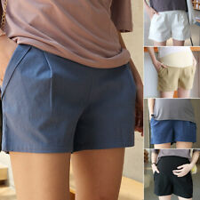 Casual Maternity Shorts Solid Elastic Waist Breathable Linen Cotton Over Belly