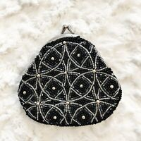 Neiman Marcus Black Silver Beaded Coin Purse Small Evening Formal