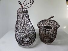 Wire Pear and Acorn Shaped tea light candle holder Décor Bronze
