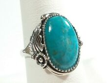 SIGNED AHM 925 STERLING SILVER FEATHER BLOSSOM DESIGN TURQUOISE SIZE 8 RING