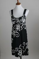 Women's INC Stretch Dress Size S (4-6) Empire Waist Black White Floral Print