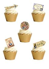 23 Stand Up Vintage Alice In Wonderland LABELS Edible Wafer Paper Cake Toppers