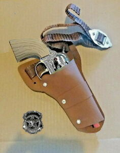 Die-Cast Metal Pistol, With Western Cowboy Holster, Belt & Badge  CAP GUN