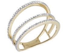 Ladies 14K Yellow Gold Three Split Row Real Diamond  Ring 0.50ct