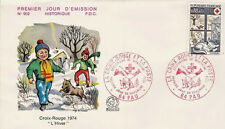 FRANCE FDC - 910 1829 2 CROIX ROUGE PAU 30 11 1974 - LUXE CHAT