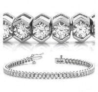 "6.90 ct Round Cut Diamond 14k Gold Over 7.25"" Tennis Bracelet, Bezel,0.13ct each"