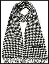 100%cashmere super soft unisex scarf neck warmer plaid design houndstoot color