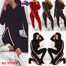 2PCS Women Hoodies Hooded Crop Tops Sweatshirt Track Pants Sport Suit Tracksuit