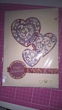 New Handmade Valentines Day Card Filigree Hearts For the one you love,Scalloped