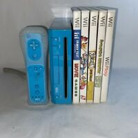 Nintendo Wii RVL-001 Blue Console Bundle With Games Tested Working