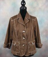 Coldwater Creek Women's Size 14 Jacket Brown Denim 3/4 Sleeve Button Front