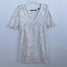Twelfth Street Cynthia Vincent VNeck Lace White Mini Dress - Medium M