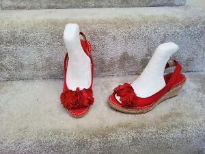 Clarks Red Canvas 3D Floral Embellishments Platform Wedge Espadrilles UK 3 D