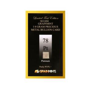 Platinum Metal Ingot 1/4 Gram 99.99% Pure in Limited  Numbered Bullion Card