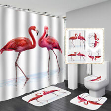 Flamingo White Shower Curtain Bath Mat Toilet Cover Rug Bathroom Decor Set