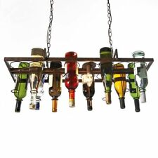 Hanging Iron Pendant Lamps Restaurant Bar Wine Bottle Holder Ceiling LED Lights