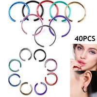 40PCS Nose Ring Septum Ring Hoop Cartilage Tragus Helix Small Piercing Jewelr Fy