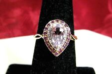 14K YELLOW GOLD NATURAL PEAR SHAPE AMETHYST PINK SAPPHIRES DIAMONDS RING SIZE 7