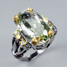 Handmade13ct+ Natural Green Amethyst 925 Sterling Silver Ring Size 7/R119776