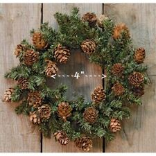 """PINE WREATH Candle Ring 4"""" Opening CONES 8"""" to 9"""" W Christmas Winter Primitive"""