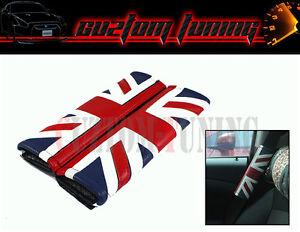 MINI COOPER PACEMAN COUNTRYMAN LEATHER UNION JACK UK FLAG SEATBELT SHOULDER PADS