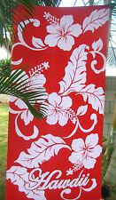 "Hawaiian Hawaii Beach / Pool / Bath Towel 60"" x 32"" ~ RED WHITE HIBISCUS FLORAL"