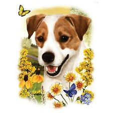 """JACK RUSSELL DOG with Flowers on Fabric -One LARGE 18"""" x 22"""" Panel to Sew. SALE!"""