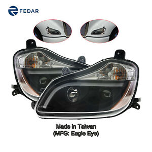Headlight Black Housing Fit 2013-2019 Kenworth T-680 Pair