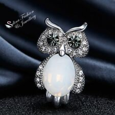 18K Whit Gold Filled Simulated Opal & Cubic Zirconia Stylish Lovely Owl Brooch