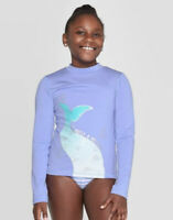 MERMAID TAIL LONG SLEEVE RASH GUARD SWIM SHIRT BLUE L CAT & JACK  NEW W/ TAGS!