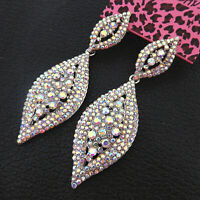 Betsey Johnson AB Crystal Rhinestone Leaf Dangle Drop Earrings